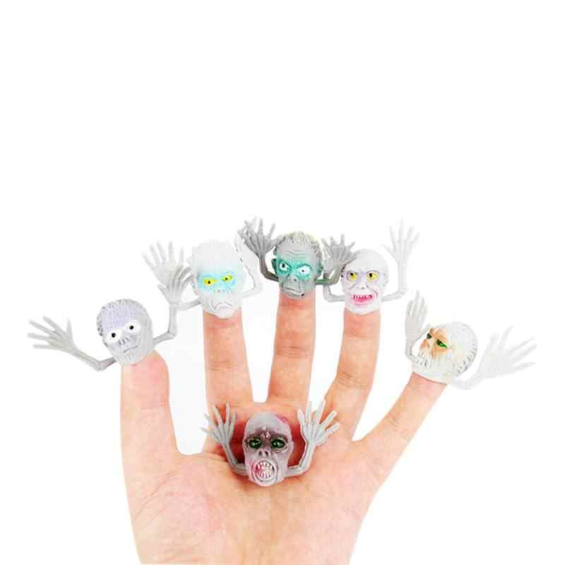 1/6pcs Story Telling Hand Puppet Accessories Kids PVC Prank Old Man Finger Puppet Horrilble Scary Finger Educational Gag Toys