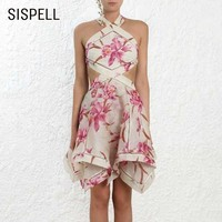 SISPELL Summer Sleeveless Off Shoulder Backless Women Dress Bandage Bow Asymmetrical Hollow Out 2019 Dresses Female Fashion New