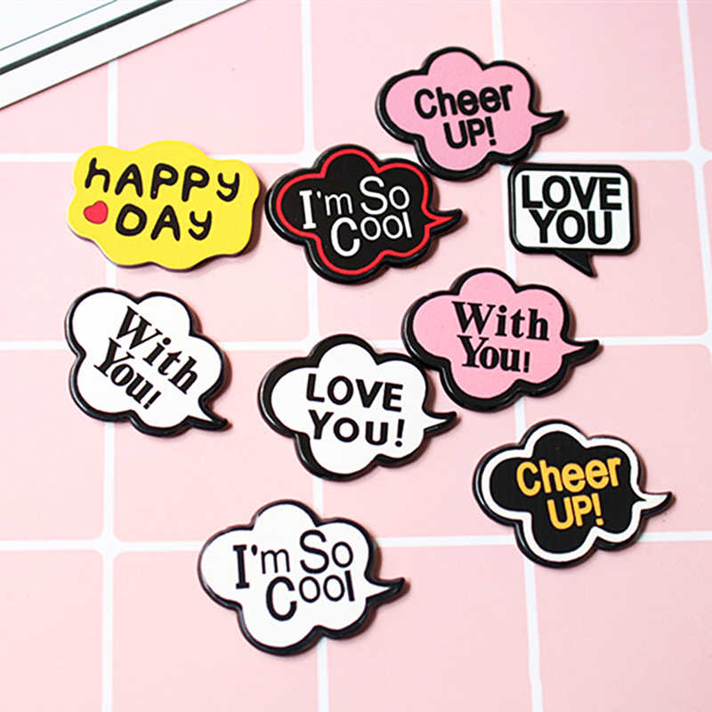 Accessories DIY Letter card  Material Hairpin Square Mobile phone case 1 piece Graffiti patch Dialog box English Brooch