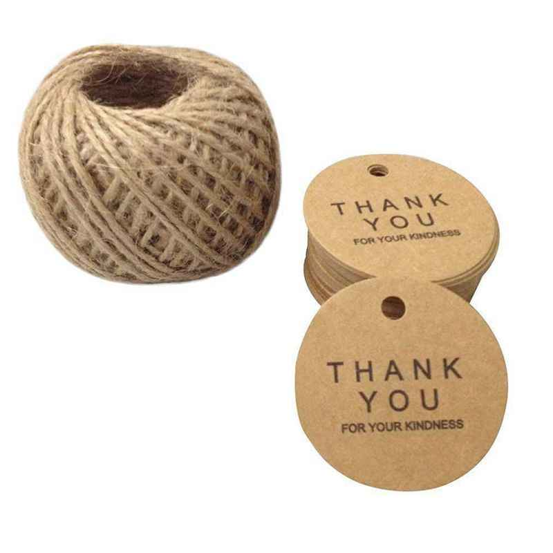 "100 Pcs Gift Tag 4.3 CM x 4.3 CM Kraft Paper Labels Tags ""THANK YOU"" Tag Labels with Jute Cord 30 Meters (Brown)"