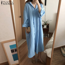 ZANZEA Maxi Dresses For Women Kaftan Linen Vestidos Robe Chemise Femme Women's Shirt Dress Female Long Sleeve Solid Sundress 5XL