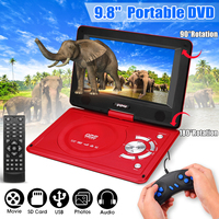 270 Degree Screen 9.8 Inch Portable Rechargeable Car DVD Player Game Video Control With Game FM Radio TV AV Monitor Card Reader
