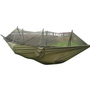 Image 4 - Camping Hammock Mosquito Net Portable Outdoor Garden Travel Swing Canvas Stripe Hang Bed Hammock 260*130cm