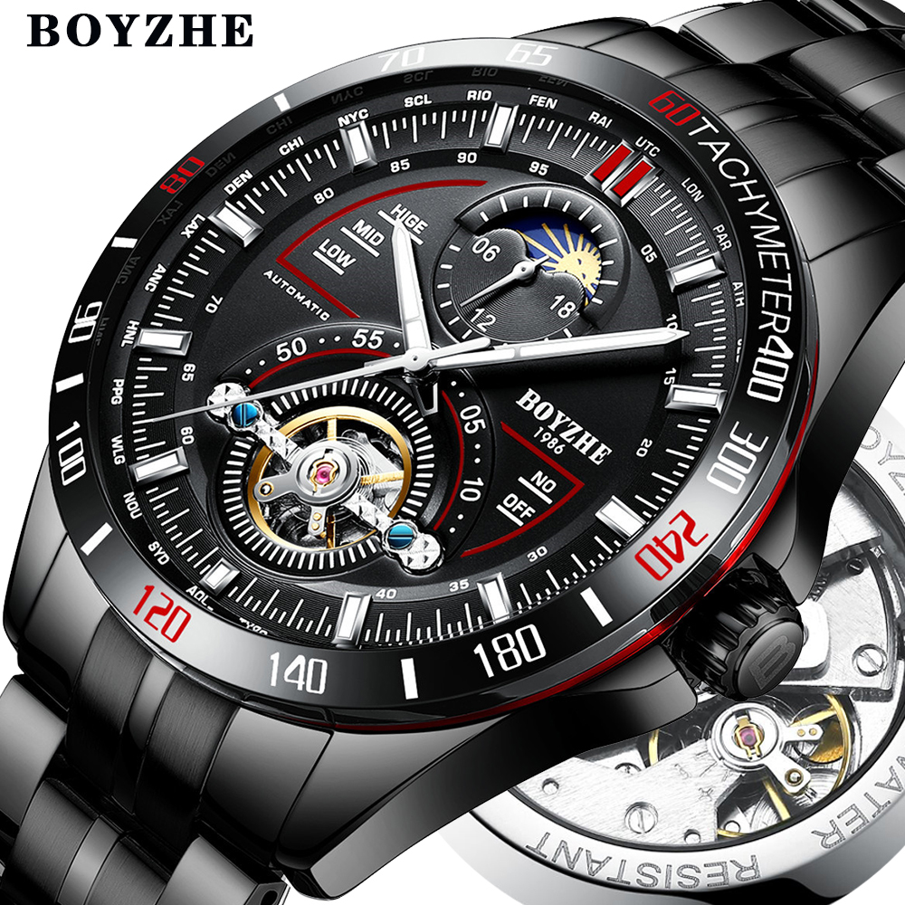 BOYZHE Men Automatic Mechanical Fashion Top Brand Sport Watches Tourbillon Moon Phase Stainless Steel Watch relogio masculino(China)