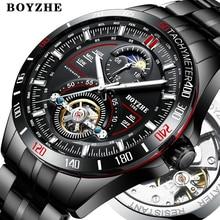 BOYZHE для мужчин автоматические механические модный топ Брендовые спортивные наручные часы Tourbillon Moon Phase часы из нержавеющей стали для мужчин  x27s