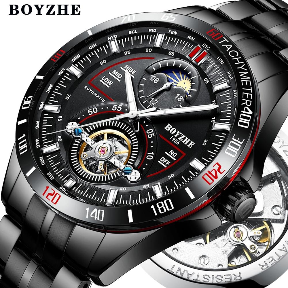 BOYZHE hombres automático mecánico moda superior marca deporte relojes Tourbillon Luna fase reloj de acero inoxidable
