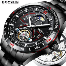 BOYZHE mężczyźni automatyczny mechaniczny modny top marka Sport zegarki Tourbillon faza księżyca ze stali nierdzewnej zegarek ze stali relogio masculino