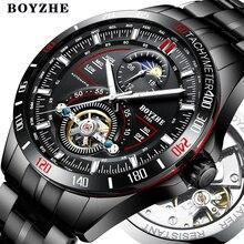 BOYZHE montre automatique mécanique, en acier inoxydable, de marque, en acier inoxydable, Tourbillon, lune, haut tendance