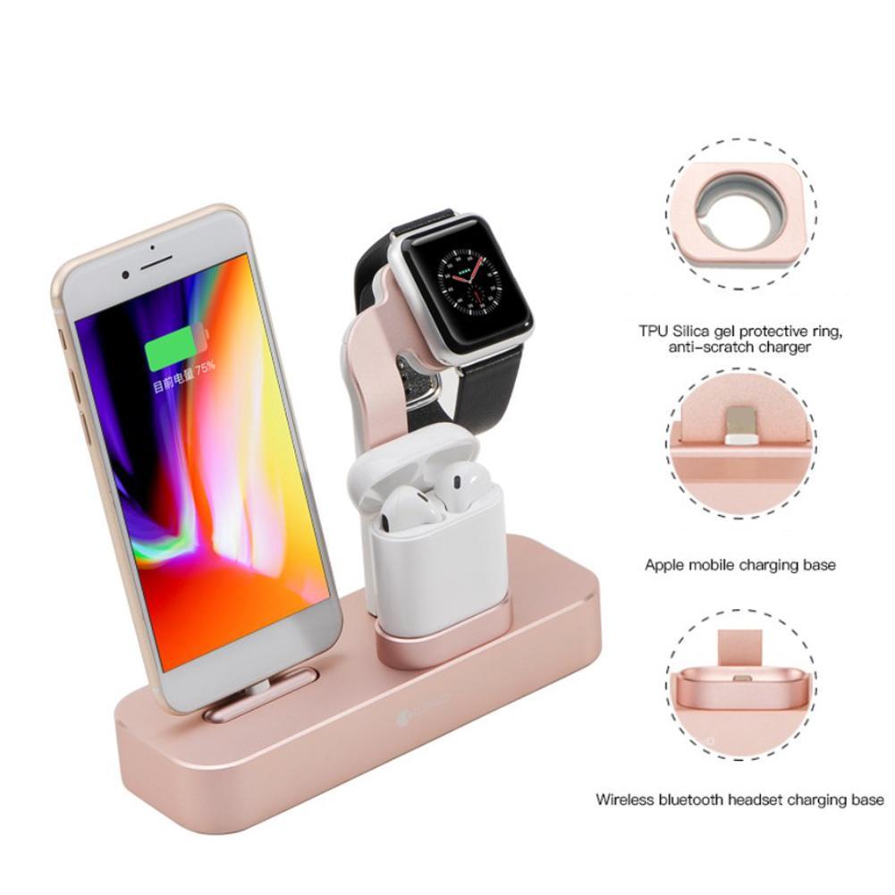 Support de Base de Station de charge en alliage d'aluminium 3-en-1 support de charge rapide sans fil pour iPhone Apple Watch AirPods USB PD TPU Base