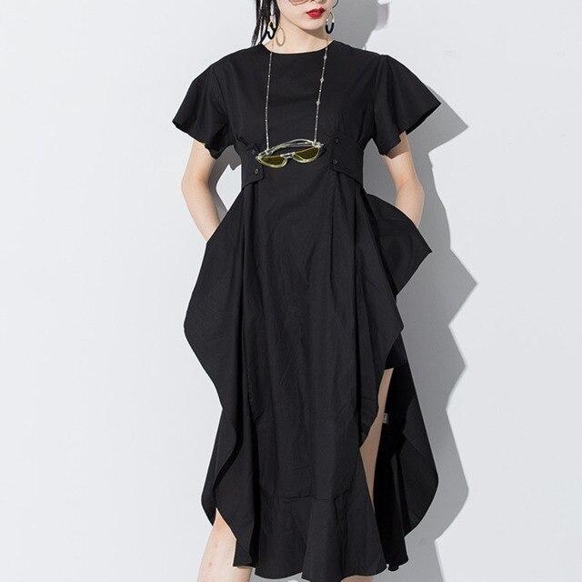 LANMERM 2020 Spring Summer Short Sleeve Asmmetrical High Waist High Vent Dress For Women Female Black White Cloth Vestido WD712