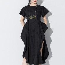 Lanmerm 2020 primavera verão manga curta asmmetrical cintura alta vestido de ventilação para feminino preto branco pano wd712