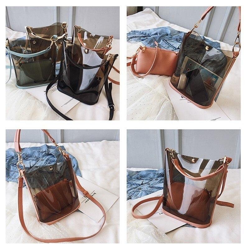 Image 4 - Herald Fashion 2pcs Women Clear Transparent Shoulder Bag Jelly Candy Summer Beach Handbag Woman Messenger Bags Bolsa FemininaTop-Handle Bags   -