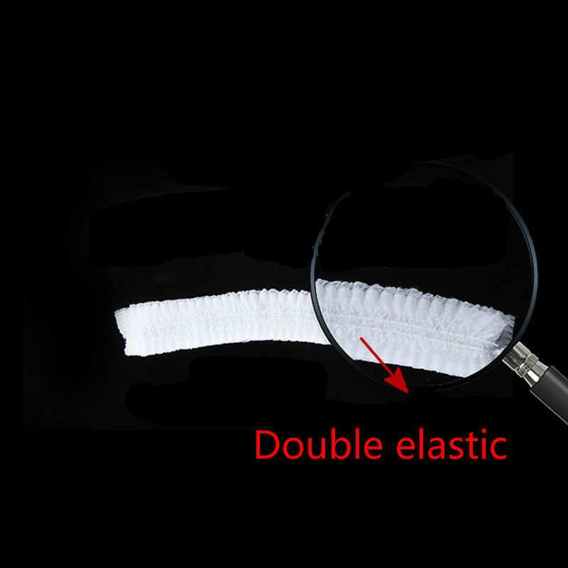 100 adet Olmayan dokuma 18 inç Çift Elastik Tek Kullanımlık Toz Şapka Kadın Erkek duş boneleri Spa saç bonesi Salon Banyo berber Otel