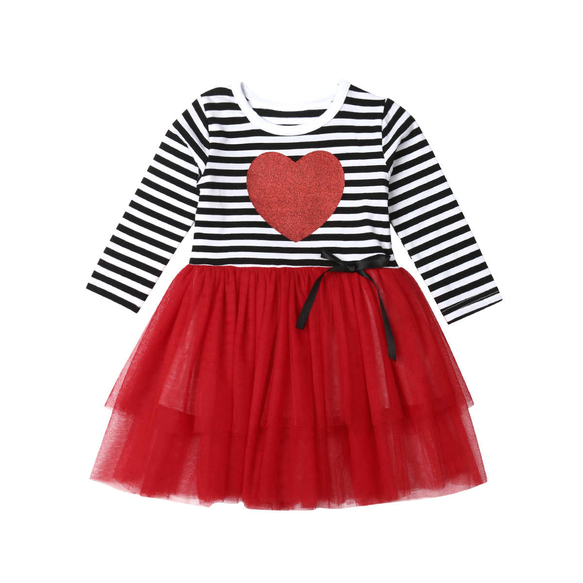 3eb5d2476 2019 Spring Valentines Day Gift Baby Girl Tulle Dress Kids Heart Striped  Patchwork Autumn Party Wedding