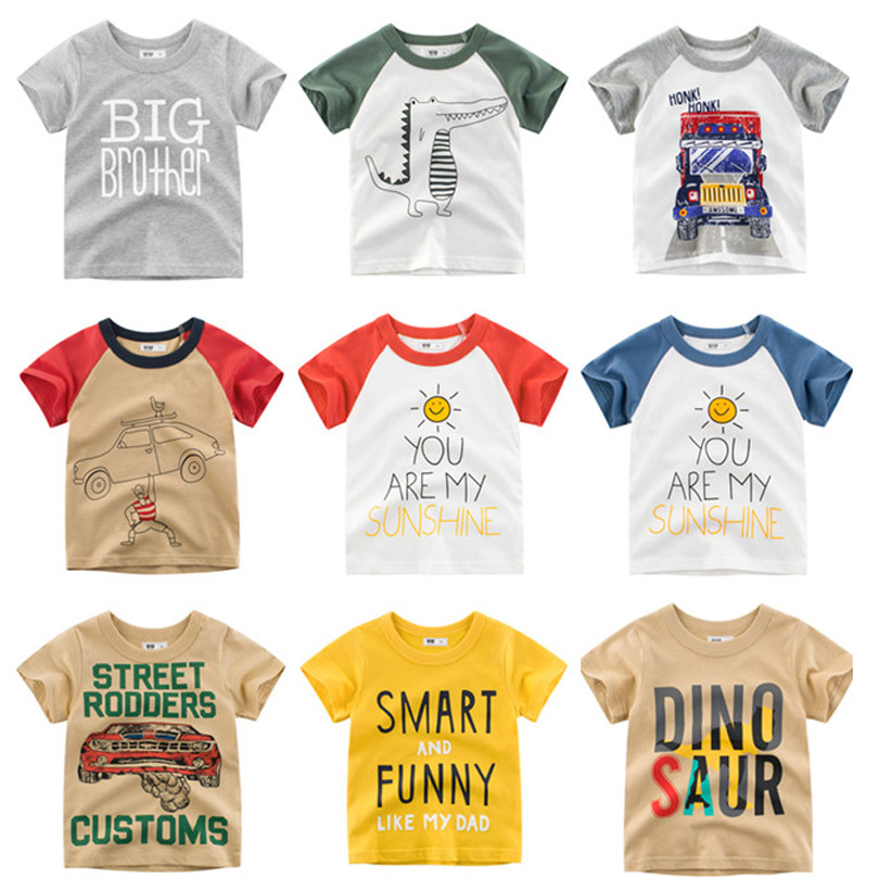 New Cartoon Print Baby Boys Dinosaur T Shirt For Summer Infant Kids Boys Girls Car T-Shirts Clothes Cotton Toddler Letter Tops