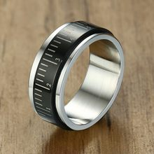 Wholesale Fidget Spinner Ring Stainless Steel Black 8mm Ruler Spinning Biker Men Rings Anxiety Worry(China)