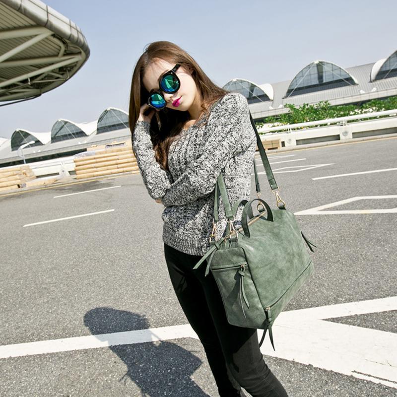 Women Messenger crossbody Bag Matte Leather Nubuck Leather Handbag Vintage Solid tote Single Shoulder Bag* 3