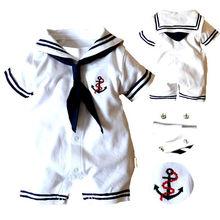 2019 Baby Boy odzież niemowlę kotwica Sailor Romper kombinezon stroje nowe ciuchy tanie tanio Dla dzieci Pajacyki W paski Boys baby Poliester COTTON Sailor collar Krótki Pasuje prawda na wymiar weź swój normalny rozmiar