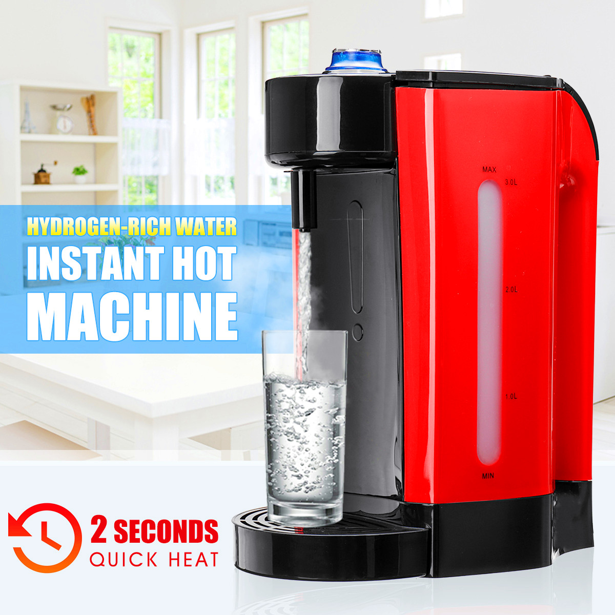 3L Healthy Rich-Hydrogen Water Bottle Alkaline Water Dispenser Household Instant Hot Water Heater Hydrogen-Water Generator 220V