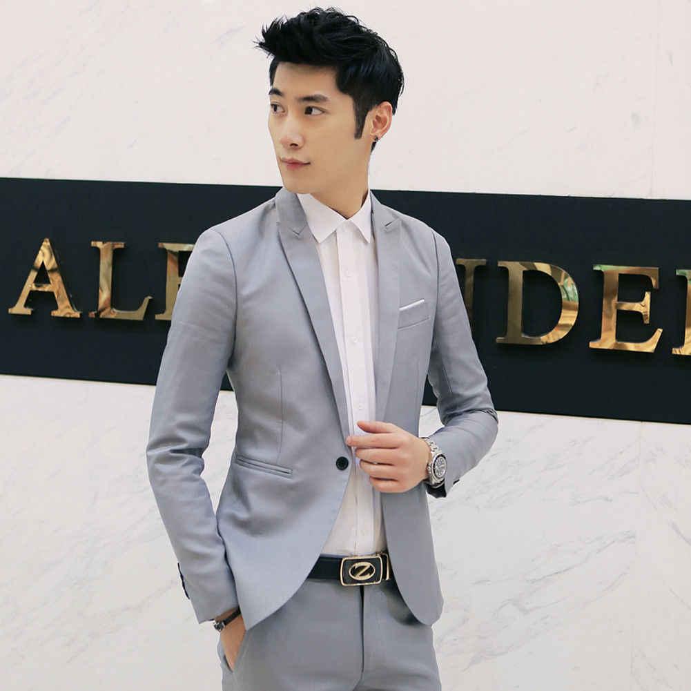 На заказ куртка формальное платье мужской костюм набор мужской повседневный Свадебный костюм Жених корейские облегающие платье, блейзер