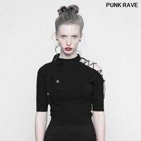 Punk Style Laced Half Sleeve Round Neck Crop T shirt fashion Women Strapless Imitate Ice Silk Black Tees Tops PUNK RAVE OPM 093