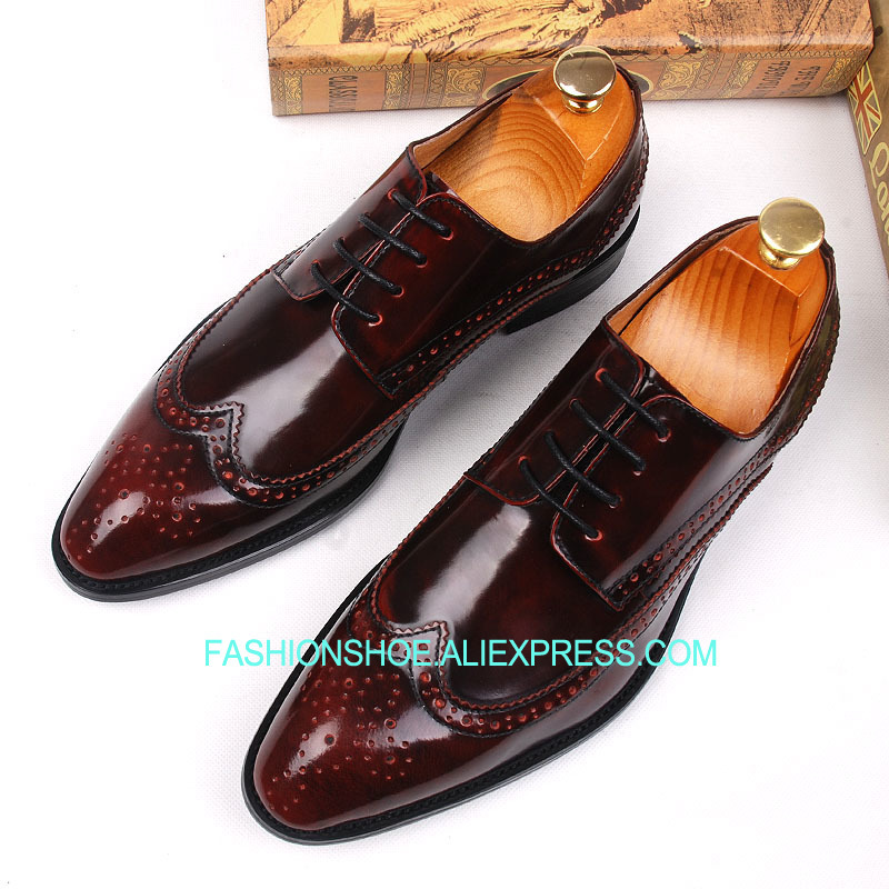 Spring Fall Brogue Men Shoes British Style Carved Genuine leather Formal Business Dress Oxfords men business formal dress shoes oxfords men leather shoes lace up british style genuine leather brogue shoes classic fashion