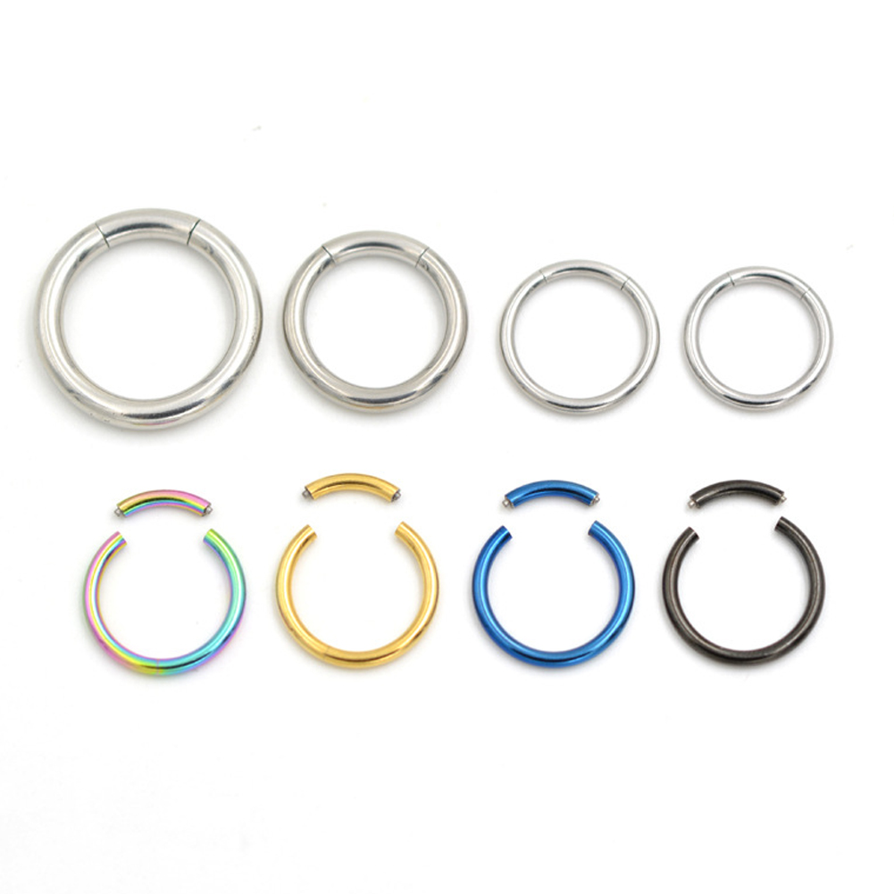 1pc Titanium Hinged Segment Nose Ring Studs Nipple Clicker