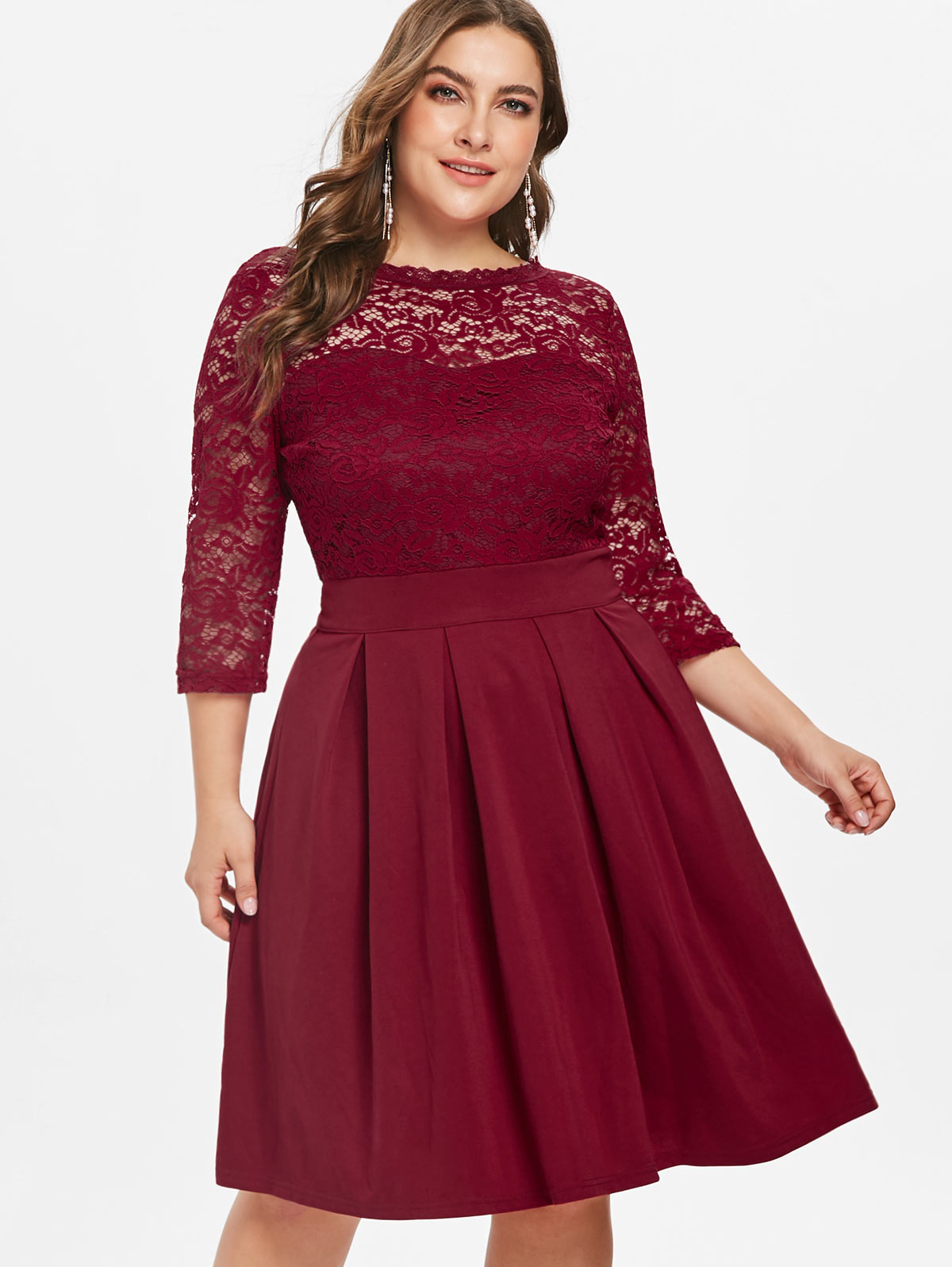US $18.51 48% OFF|Wipalo Round Neck Plus Size Lace Panel A Line Dress Women  Dresses Solid Color 3/4 Sleeves Midi Dress Female Clothing Vestidos-in ...