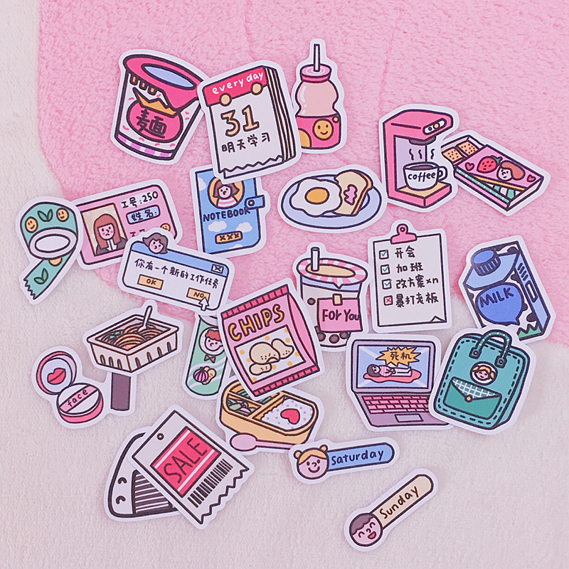 24pcs/pack Girly Wind Cartoon Snack Sticker Notebook Photo Album Diary Decoration Assistant Mobile Phone Sticker Cute Stationary