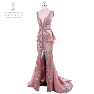 Image 3 - 2018 Jusere מזרח התיכון קמיע חום למעלה לראות דרך רקום Appliqued ערב שמלות פיצול צד באורך רצפת שמלת הנשף