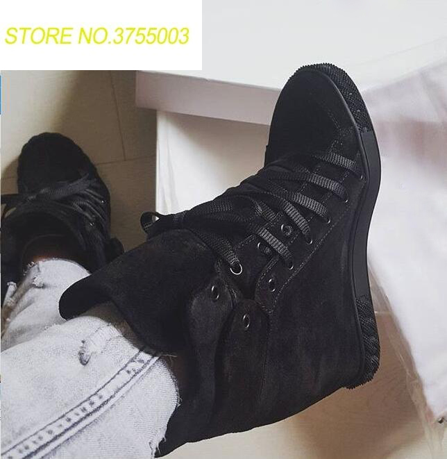2018 Spring Fashion Black Suede Leather Women Increased Heel Casual Style Shoes Lace Up Ladies High Quality Roma Style Flats2018 Spring Fashion Black Suede Leather Women Increased Heel Casual Style Shoes Lace Up Ladies High Quality Roma Style Flats