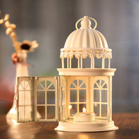 European Iron Lantern Candle Holder Hanging Castle Wedding Lanterns Vintage Candlesticks Christmas Decoration Candle Lanterns