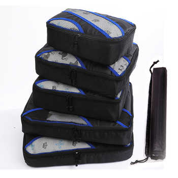 2019 New 5PCS/Set High Quality Oxford Cloth Travel Mesh Bag In Bag Luggage Organizer Packing Cube Organiser for Clothing Shoes
