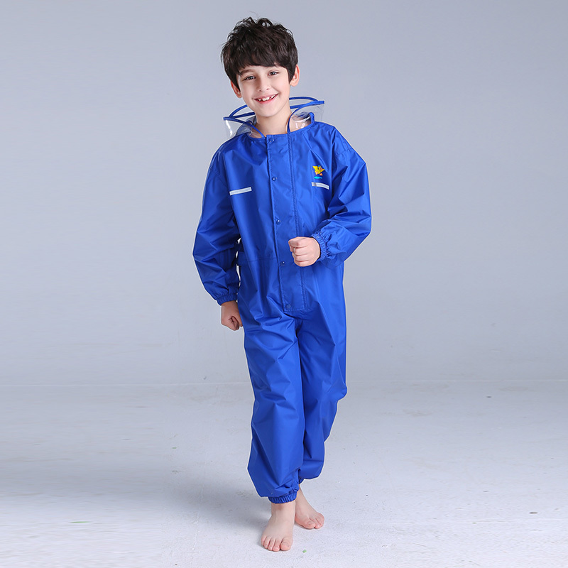 Kids Conjoined Hooded Raincoats Children Motorcycle Bicycle Overalls Rainsuit Outdoor Boys Girl Reflective Strip Rainwear CW234
