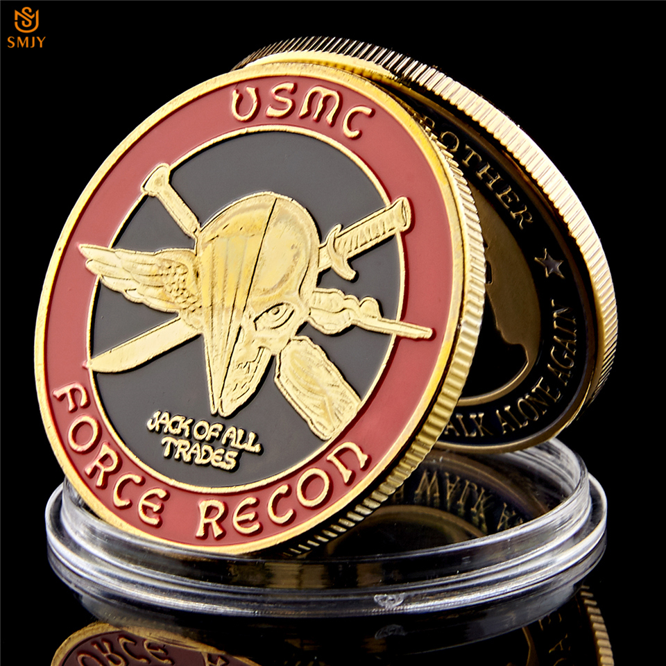 5PCS USA Challenge Coin Navy Marine Corps Usmc Force Recon Military Gold Coin