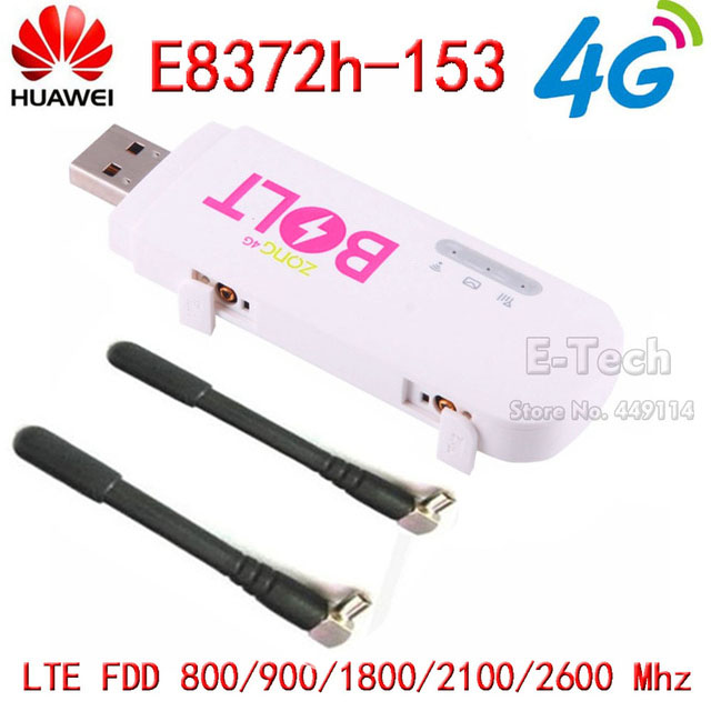 Huawei Dongle Usb-Modem E8372h-153 Unlocked LTE 150mbps Black Support Wifi 4G White-Color