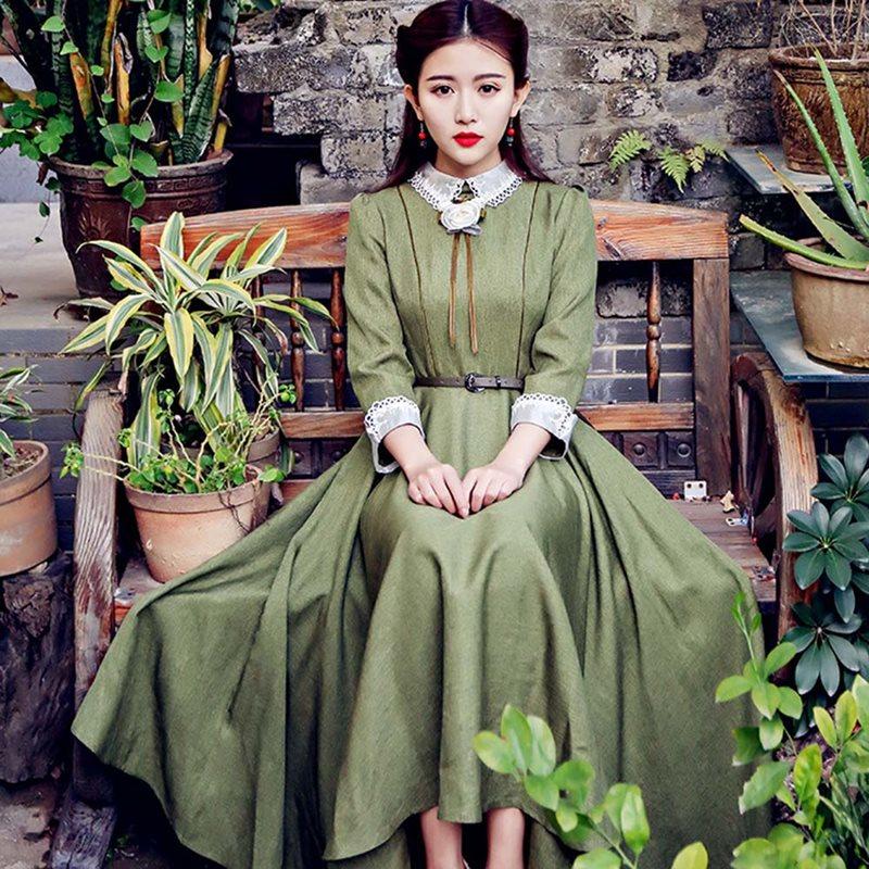 Printemps Robe élégante femmes mode coréenne Robe Vintage une ligne dentelle col dames 2019 rétro grand Swing décontracté école Midi robes