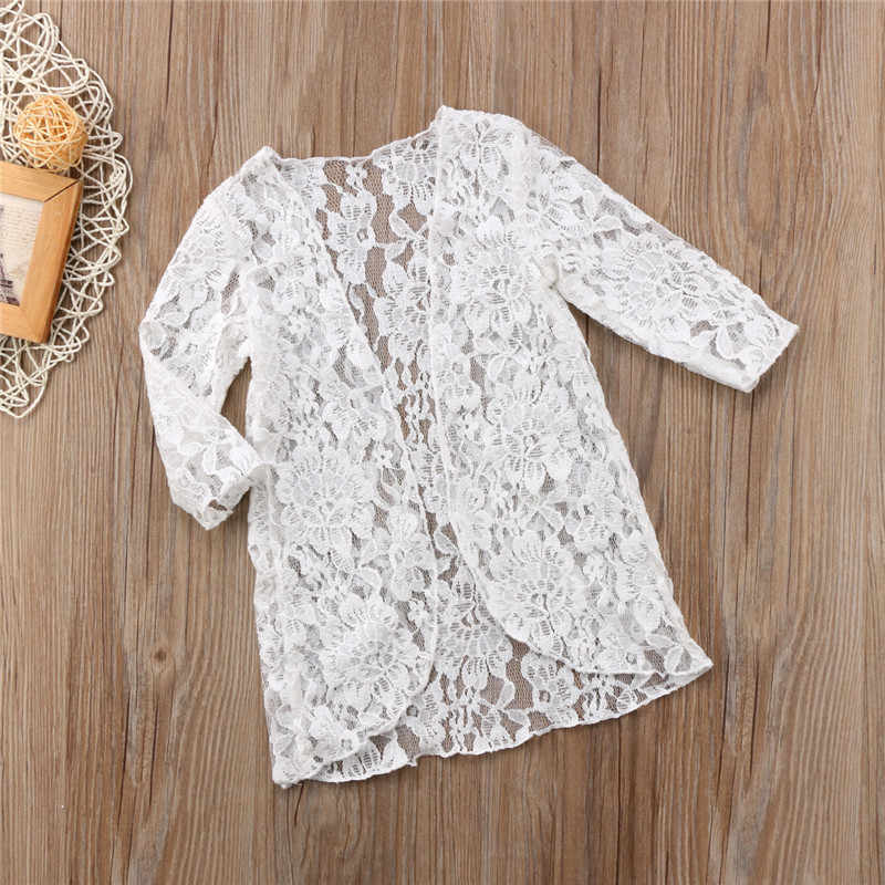 Baru Anak-anak Balita Bayi Gadis Pakaian Floral Renda Lengan Panjang Tabir Surya Pantai K Berlaku Mantel Pakaian Luar Biasa Putri Pakaian 6M-5Y