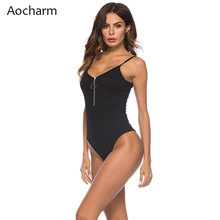 Aocharm Ribbed Bodysuit Black Scoop Neck Sleeveless Sexy Bodysuits Women Zipper Skinny Romper Elegant Autumn Jumpsuit