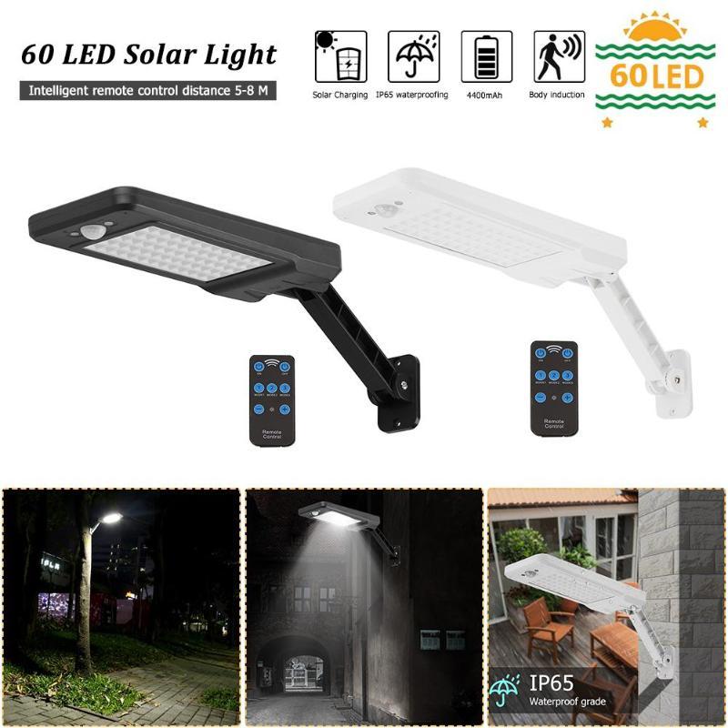 Upgraded 60 LED Solar Light PIR Motion Sensor IP65 Outdoor Garden Wall Dimmable Lamp For Outdoor Garden Wall Street Dropshiping