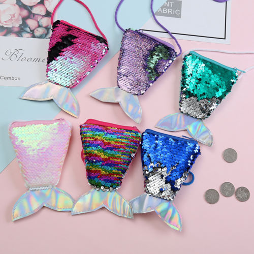 Kid Girl Colorful Change Sequin Mermaid Tail Shoulder Bags Zipper Coin Wallet Purse Pouch Card Holder Storage Clutch Bag Handbag