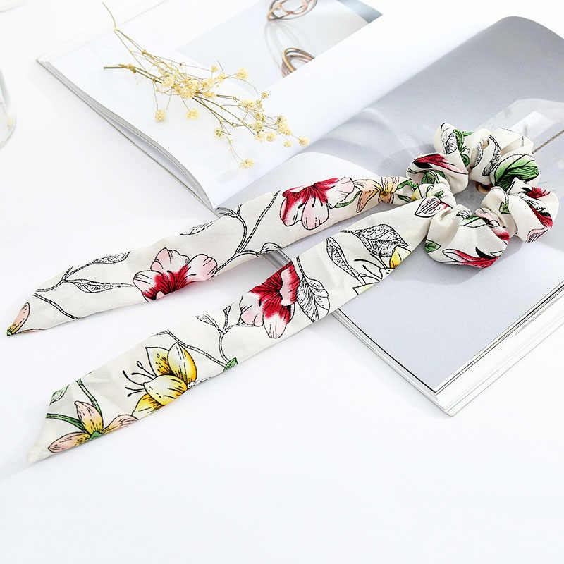Bowknot kwiaty drukowane dziewczyny szyfonowa długa uchwyt kucyk włosów liny akcesoria do włosów dla kobiet gumką koreański 1 PC Lady