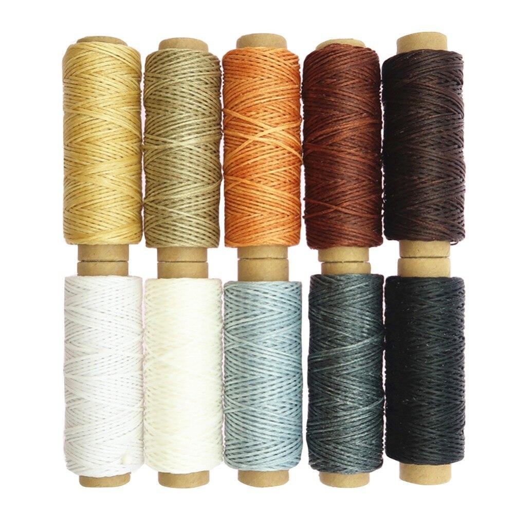 10 видов цветов, 50 метров, кожа, сшитая вручную, плоская Вощеная линия, швейные нитки для ручного шитья, ремесло, пэчворк, аксессуары для шитья