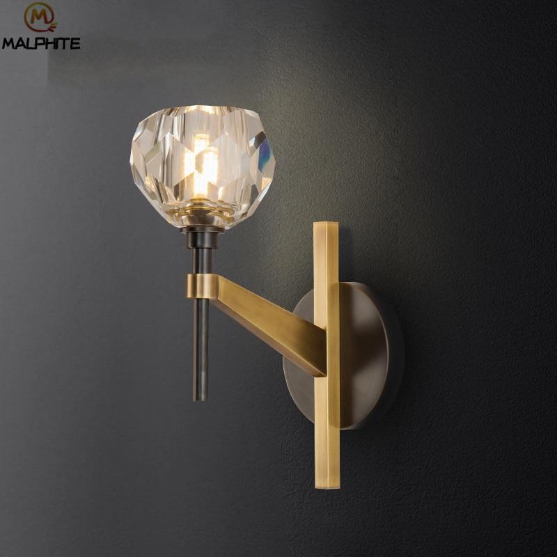 Modern LED wall lamp postmodern copper wall light for Living room decor luminaire simple corridor bedroom bedside wall lamp