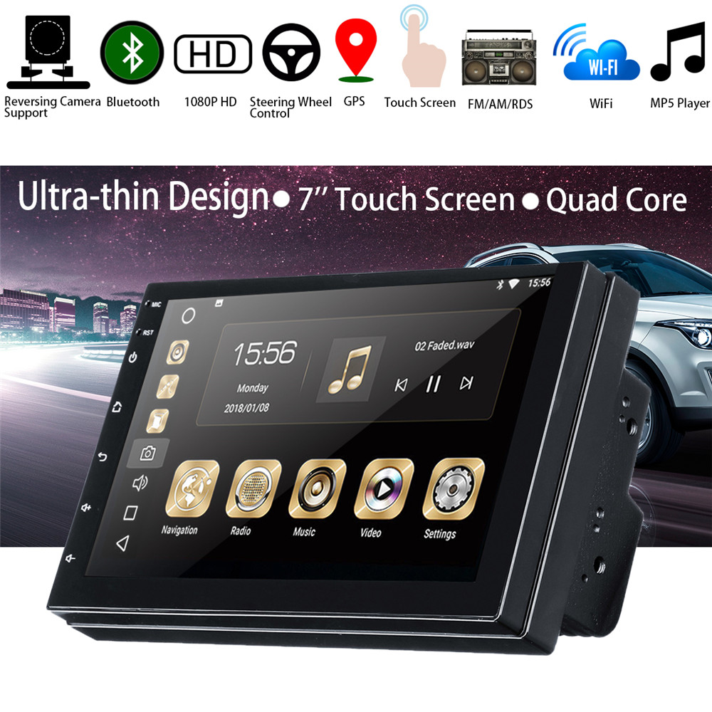Car Multimedia Player 7'' for Android 8.0 2 DIN Car Stereo HD Screen Universal Bluetooth WIFI GPS Nav Quad Core MP5 Player