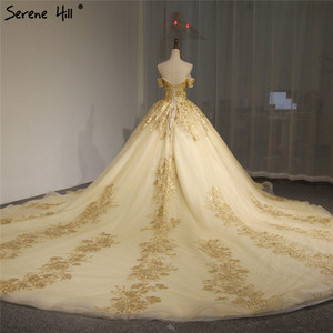 Image 2 - Dubaj wysokiej klasy krótkie rękawy luksusowa suknia ślubna w stylu Vintage Sexy Off ramię złota frezowanie cekinami panna młoda suknia 2020