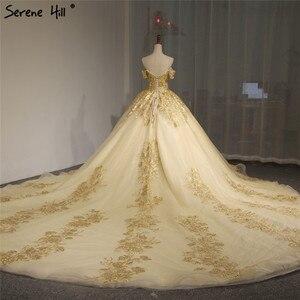 Image 2 - Robe de mariée Vintage, style dubaï, manches courtes, Sexy, épaules dénudées, robe de mariée luxueuse, dorée et pailletée, modèle 2020