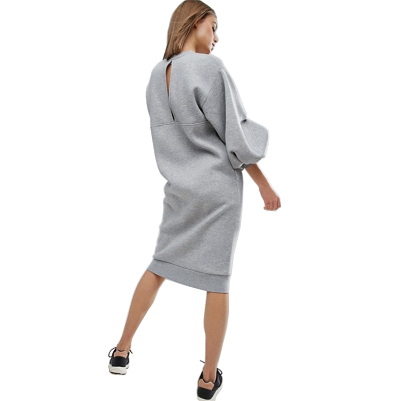 AEL Space Cotton Sweatshirt Dress Bishop Sleeve Backless Long Dresses 2018 Loose Plus Size Hight Quality Women Clothing