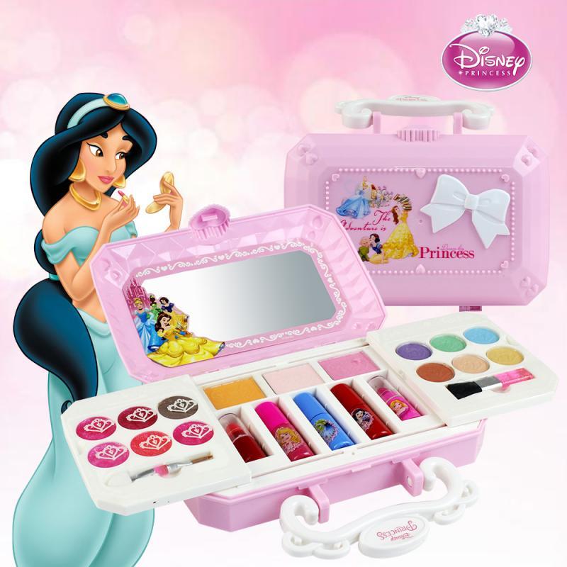 Disney princesa maquiagem brinquedos conjunto não-tóxico cosméticos fingir jogar conjunto com caso de formação de maquiagem brinquedos para meninas presente de aniversário