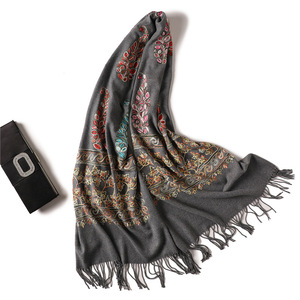 Image 2 - 2020 Embroidery women scarf high quality thick warm winter scarves  cashmere shawls and wraps ladies pashmina bandana echarpe
